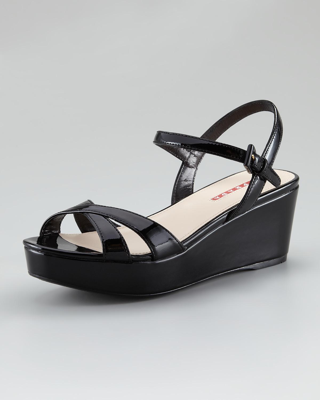 c354f0f8e58 Lyst - Prada Patent Leather Platform Wedge Sandal in Black