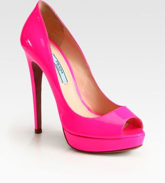 Prada Patent Leather Peep Toe Pumps - Lyst
