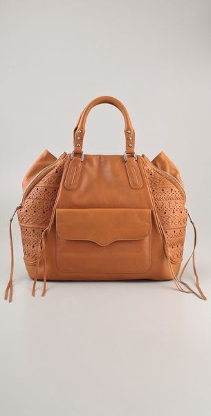 Rebecca Minkoff Perf Weave Romeo Satchel in Beige (natural)