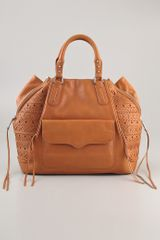 Rebecca Minkoff Perf Weave Romeo Satchel in Beige (natural) - Lyst