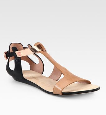 Rebecca Minkoff Bardot Two-tone Leather and Metallic Leather T-strap Sandals - Lyst
