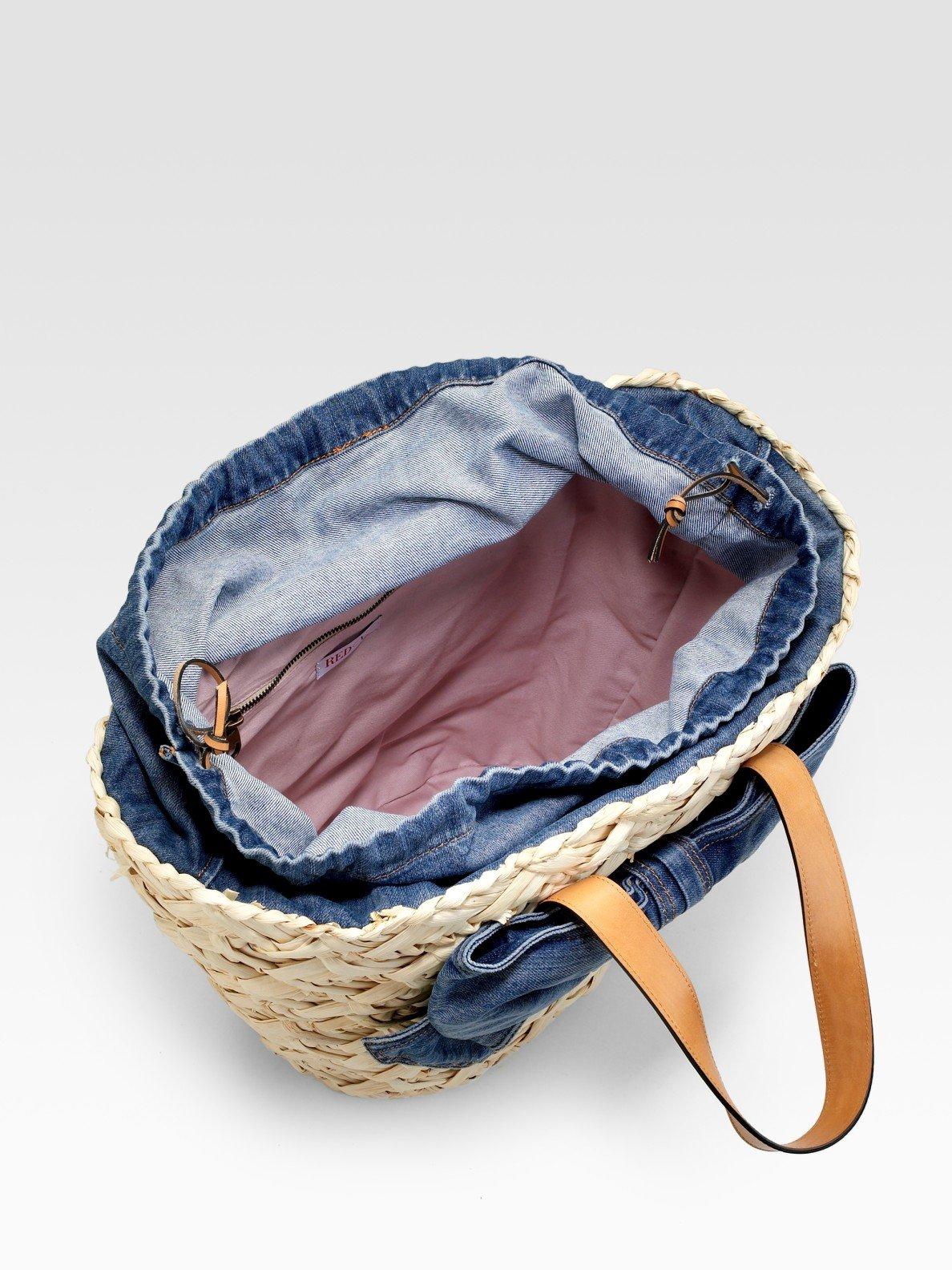 eedbc381f30 RED Valentino Straw & Denim Bucket Bag in Natural - Lyst