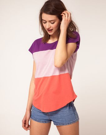 River Island Colour Block T-shirt - Lyst