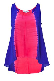 Sandro Neon Pink and Blue Silk Top - Lyst