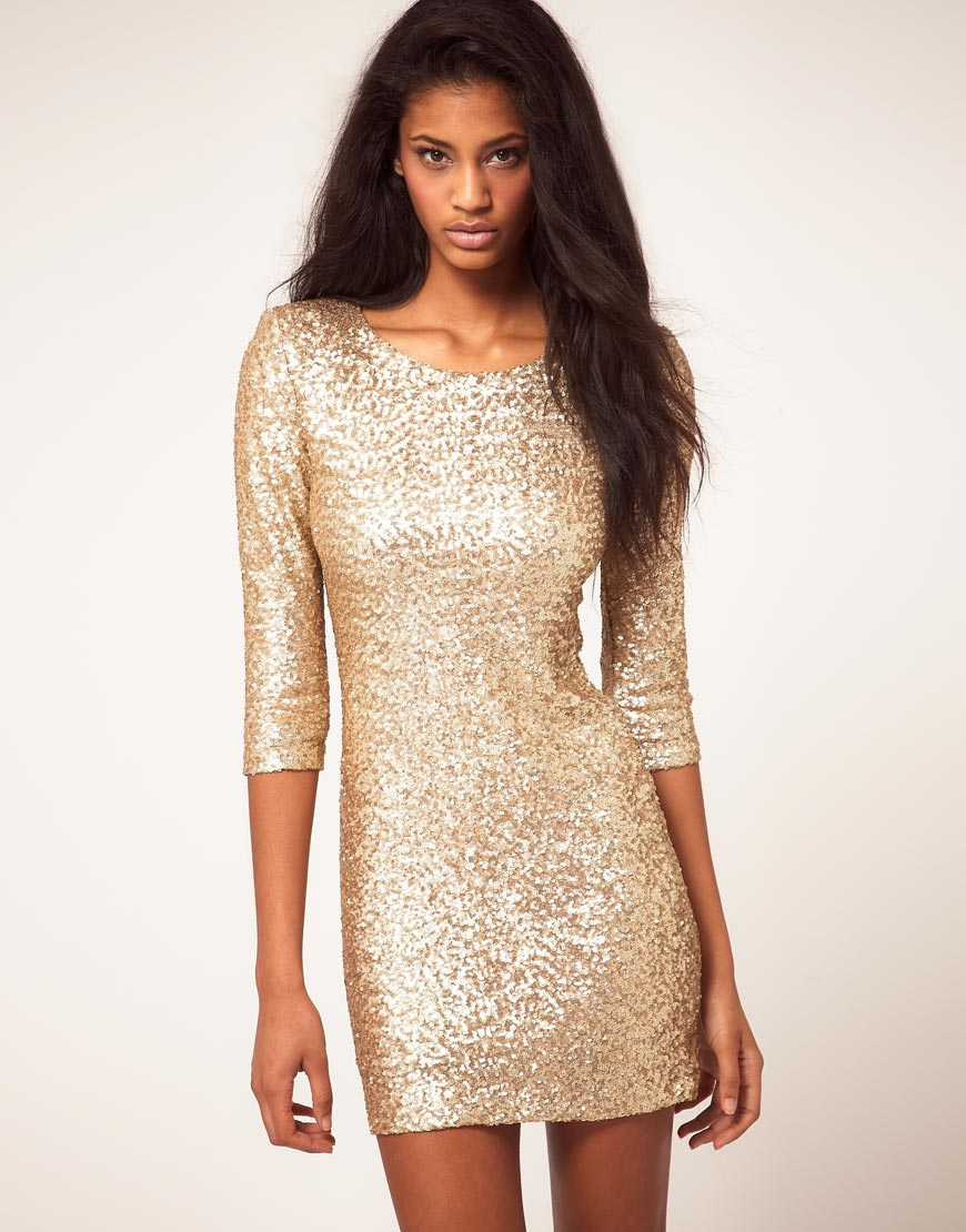 Tfnc london Tfnc Sequin Dress with Long Sleeves in Metallic  Lyst