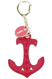 Yves Saint Laurent Anchor Leather Keyring - Lyst