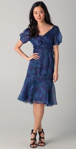 Zac Posen Short Sleeve Floral Dress in Blue (midnight) - Lyst