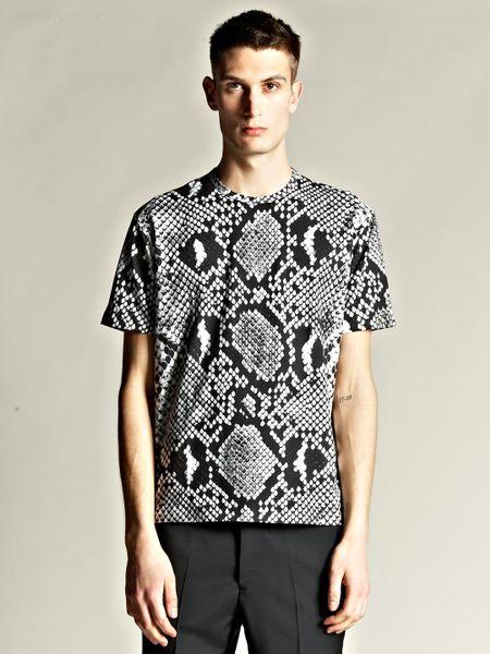 Jil sander mens python print t shirt in black for men lyst for Jil sander mens shirt