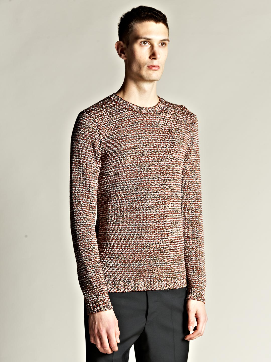lyst jil sander mens grained yarn sweater in red for men. Black Bedroom Furniture Sets. Home Design Ideas
