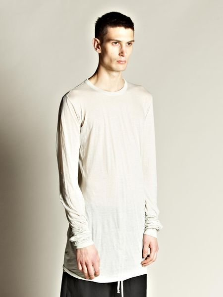 Rick Owens Mens T Shirt Woven in Gray for Men (pearl) - Lyst