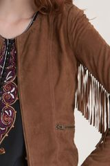 Winter Kate Sattar Fringe Sleeve Suede Jacket in Brown (cognac) - Lyst
