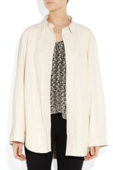 Acne Parker Leather Shirtstyle Jacket in Beige (cream) - Lyst