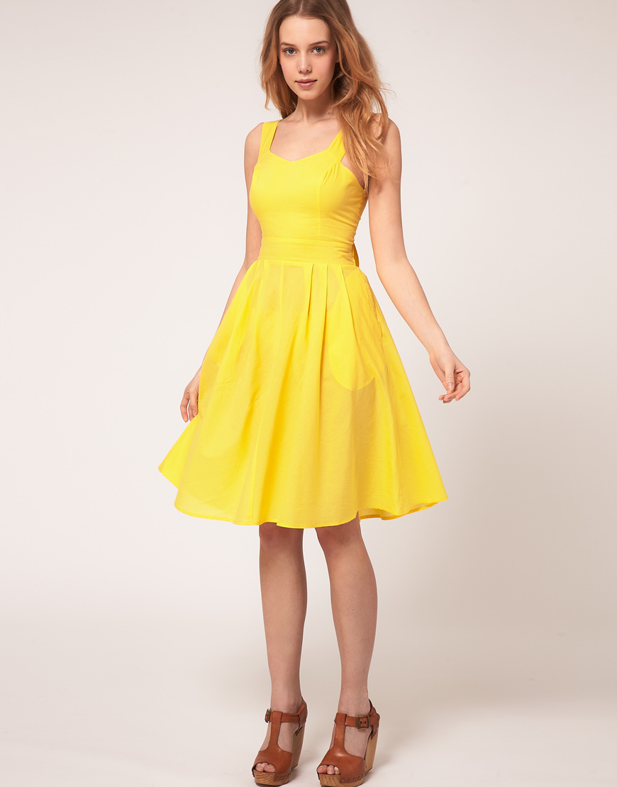 Lyst asos collection asos petite midi dress with tie for Yellow dresses for weddings