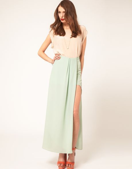 asos maxi skirt in high low hem in green mint lyst
