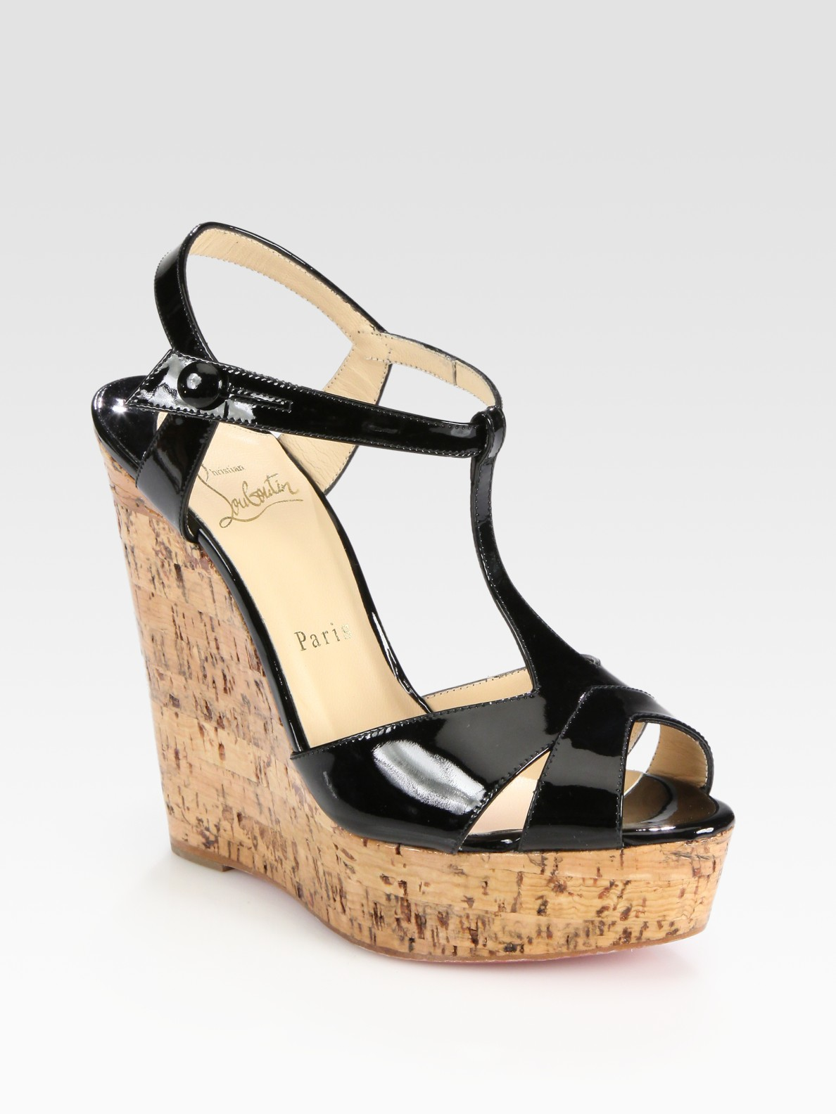 0d3e0ae23f0c Lyst - Christian Louboutin Patent Leather T-strap Cork Wedge Sandals ...