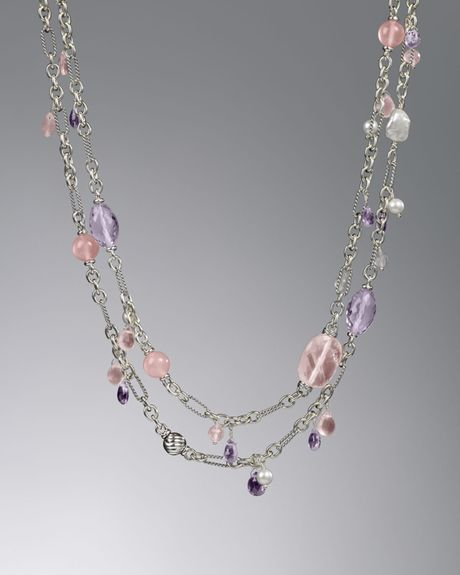 David Yurman Bijoux Briola Necklace Rose Quartz 50l In