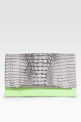 Diane Von Furstenberg Adele Croc Embossed Leather Clutch in Animal (purple) - Lyst
