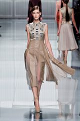 Dior Fall 2012 Leather Inset Sheer Hem Skirt  in Beige (grey, natural) - Lyst