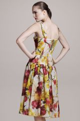 Dolce & Gabbana Onionprint Bustier Dress in Yellow - Lyst