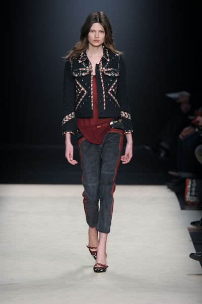 Isabel Marant Fall 2012 TwoTone Suede Cropped Pants  in Blue - Lyst