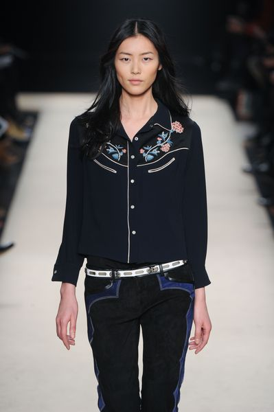 Isabel Marant Fall 2012 Black Cowgirl Shirt with Floral Motif Embroidery on the Neckline in Black - Lyst