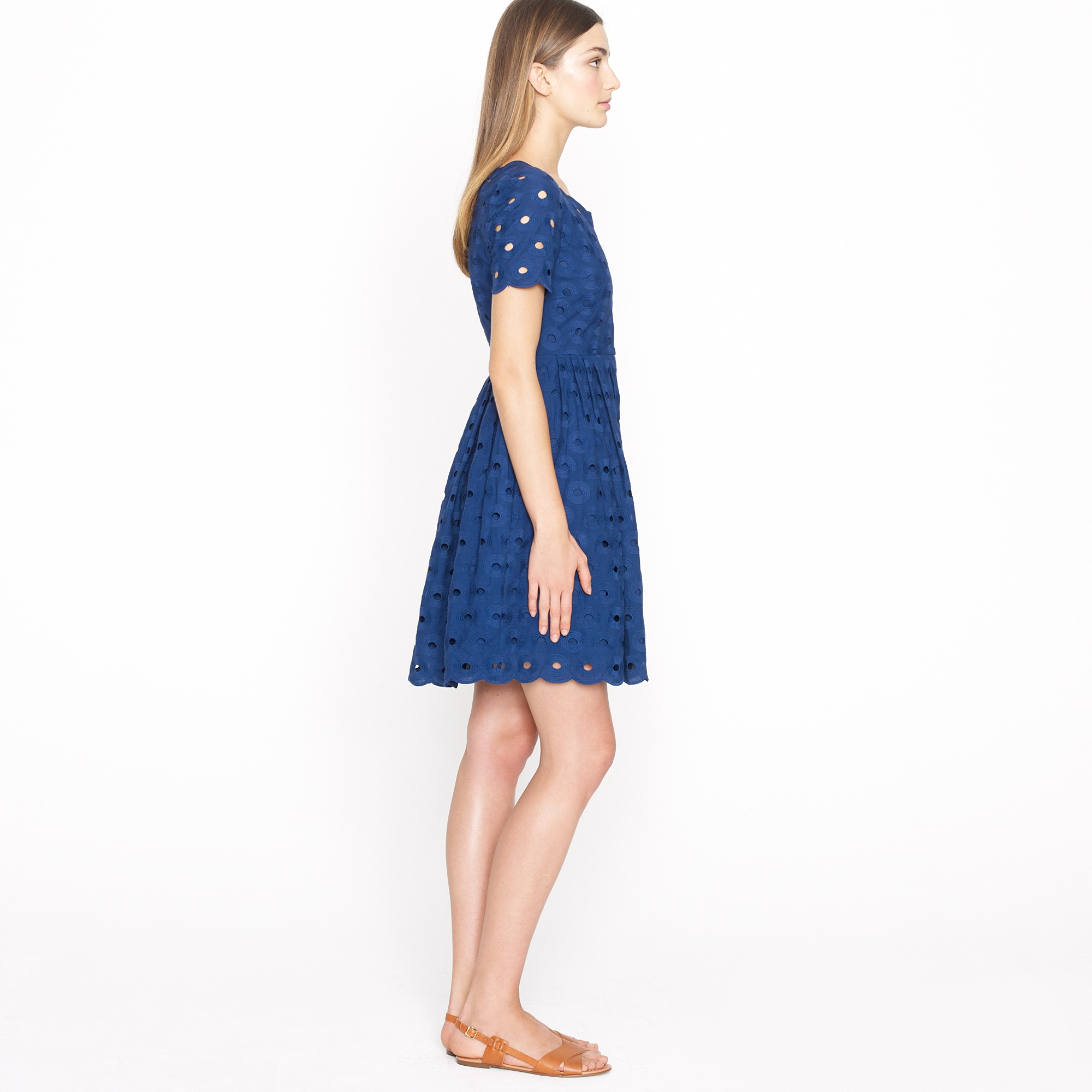 78173a1172e Lyst - J.Crew Circle Eyelet Dress in Blue