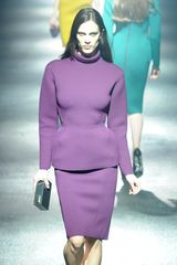 Lanvin Fall 2012 Long Sleeve Formal Peplum Violet Dress in Molding Neoprene  - Lyst