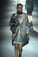 Lanvin Fall 2012 Gold & Gray Multi-Textured Mini Dress - Lyst