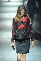 Lanvin Fall 2012 Lace Peplum Dress with Applique in Black - Lyst