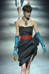 Lanvin Fall 2012 Strapless Asymmetrically Layered  Grey Cocktail Dress  - Lyst