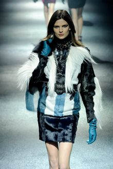 Lanvin Fall 2012 Long Sleeve Tri Tone Fur Mini Dress  - Lyst