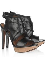 Lanvin Leather and Wooden Sandals - Lyst