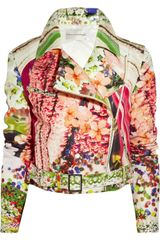 Mary Katrantzou Printed Silk-faille Biker Jacket - Lyst