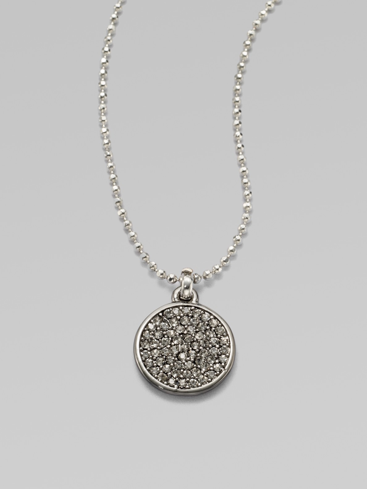 Lyst michael kors pav disc pendant necklace in metallic gallery mozeypictures Image collections