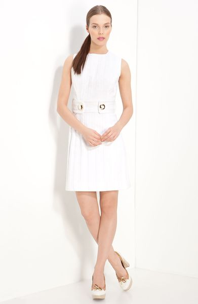 milly aris belted shift dress in white lyst