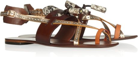 Proenza Schouler Color-block Leather Sandals in Brown