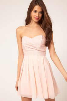 Bandeau Dress on Tfnc Sequin Top With Cross Over Chiffon Skirt In Pink  Cream    Lyst