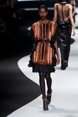 Viktor & Rolf Fall 2012 Ruffled Mini Dress With Mink Trim in Brown - Lyst