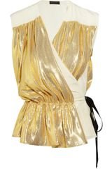 Vionnet Silk-blend Lamé And Silk-Crepe Wrap Top