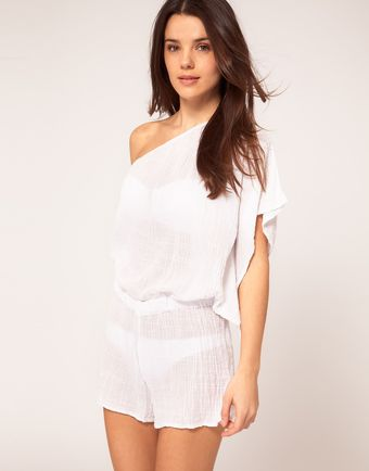 Asos Asos One Shoulder Textured Beach Playsuit - Lyst