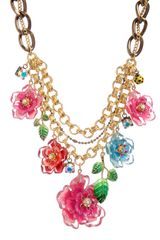 Betsey Johnson Hawaiian Luau Floral Bib Statement Necklace - Lyst