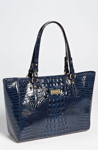 Brahmin Glossy Arno - Medium Tote in Blue (navy)