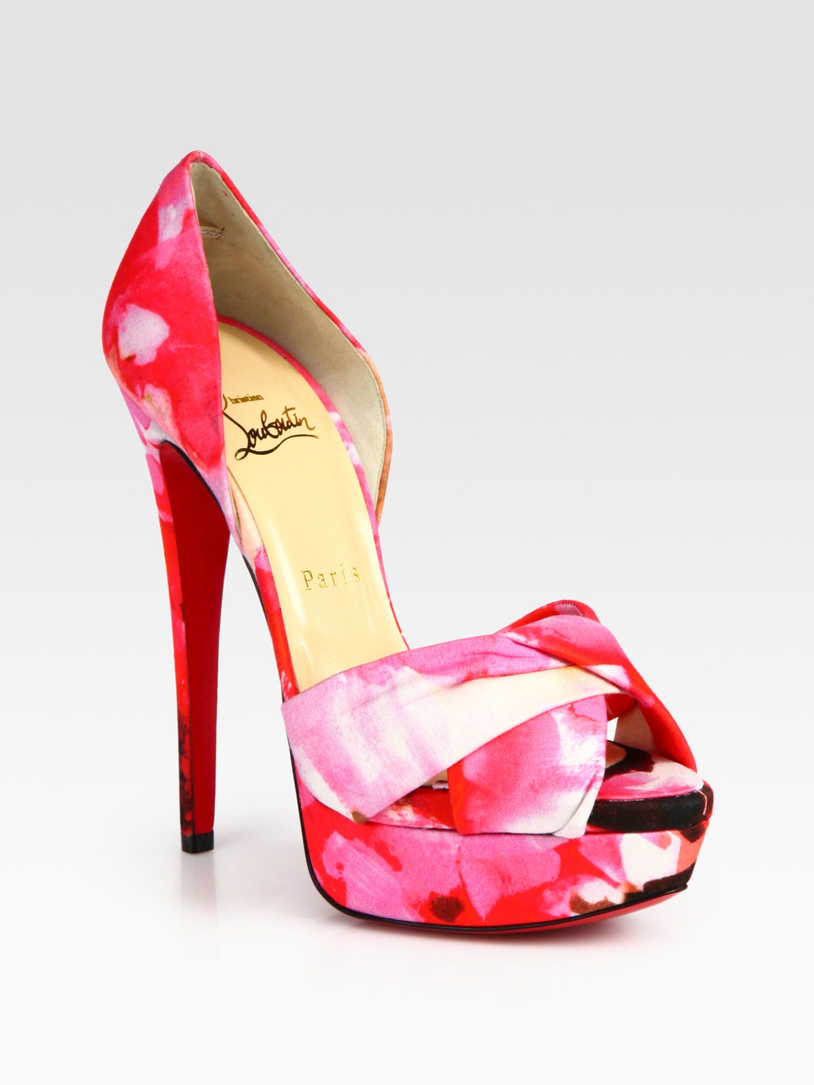 40be78c78294 Lyst - Christian Louboutin Floral-print Peep Toe Platform Pumps in Pink