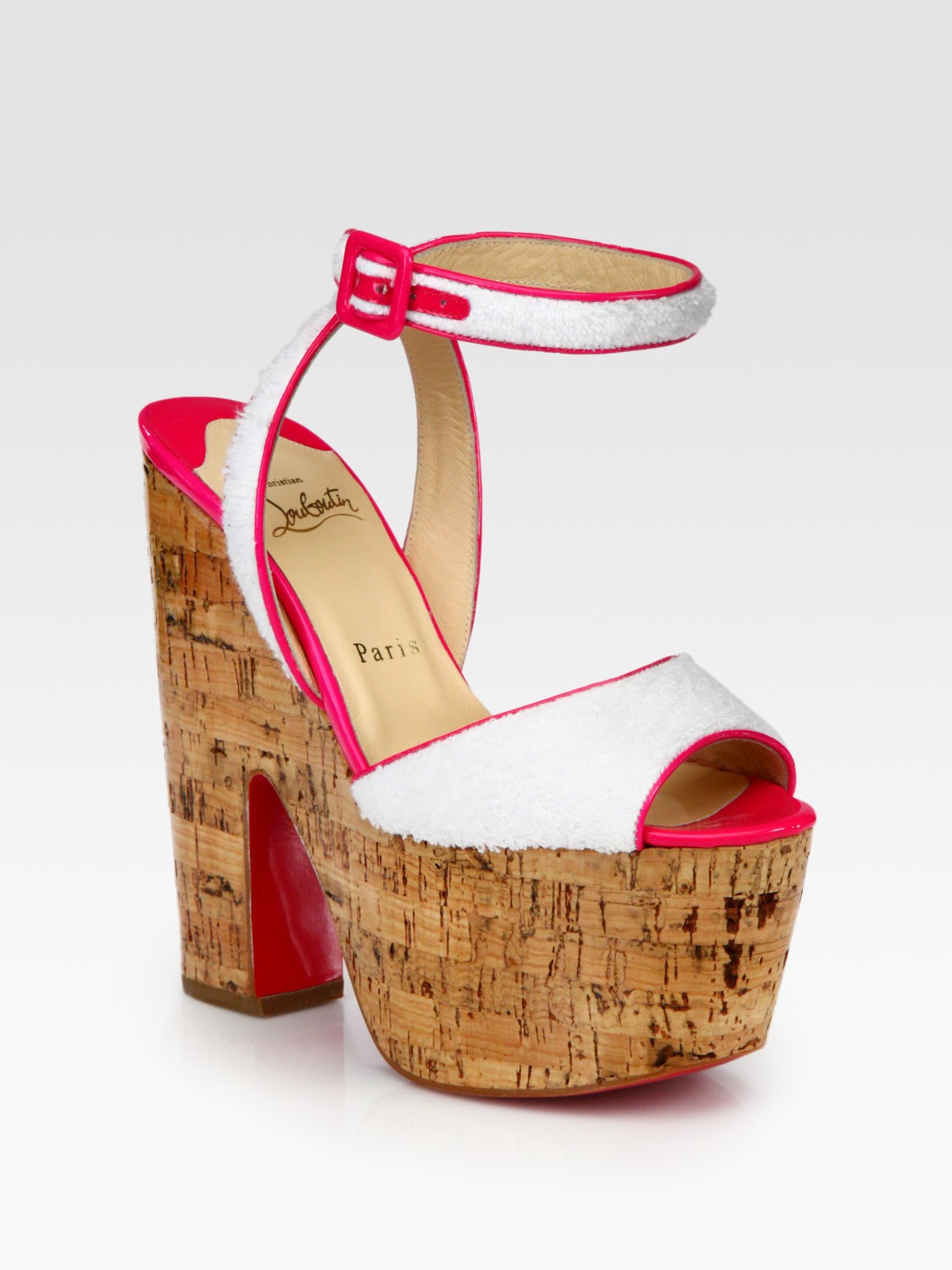 christian louboutin platform sandals Ivory terry cloth covered ...