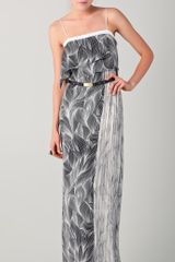 Doo. Ri Feather Line Print Long Spaghetti Strap Dress - Lyst