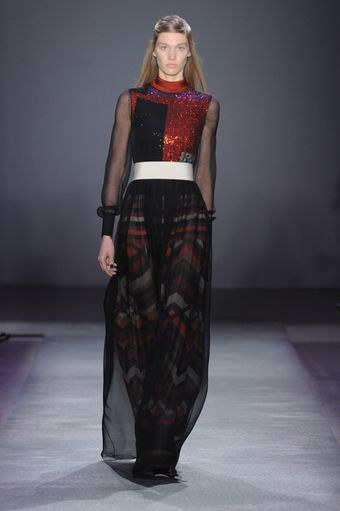 Giambattista Valli Fall 2012 Sheer Graphic Print Sequin Vest Gown - Lyst