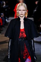 Givenchy Fall 2012 Black Long Coat With Short Sleeves & Leather Piping in Black - Lyst