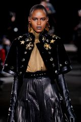 Givenchy Fall 2012 Black Cropped & Embellished Fur Coat With Kimono Sleeves - Lyst