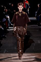 Givenchy Fall 2012 Brown Crew Neck Raglan Top With Kimono Sleeves & Embellished Neckline in Brown - Lyst