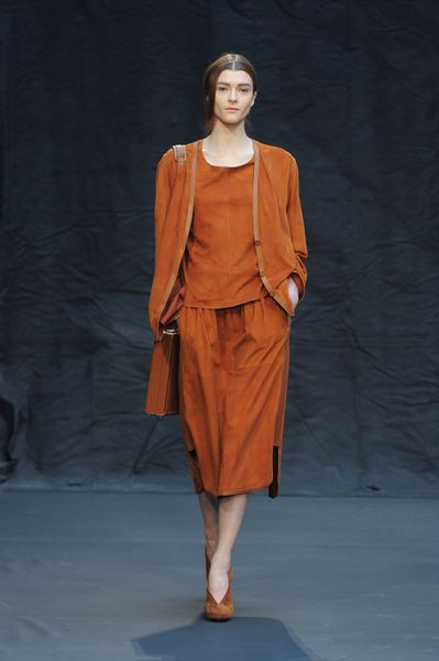 Hermes Fall 2012 Suede Midi Skirt  in Brown - Lyst